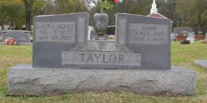 Laura Agnes Jackson Taylor and John Taylor cemetery marker